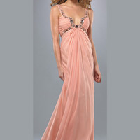 Light Peach Ruched Chiffon Rhinestone Plunging Sweetheart Prom Dress - Unique Vintage - Cocktail, Evening  Pinup Dresses