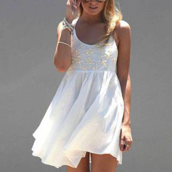 White Sleeveless Mini Dress with Jewel Embellished Bodice