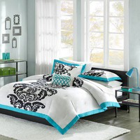 Mi-Zone Florentine Teal Modern Comforter Set