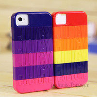 Juicy Couture Design Stackable Colorful Rainbow Hard Case Cover for iPhone 4 4S