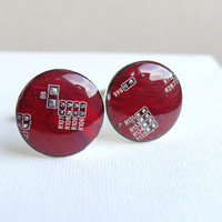 Circuit board Cuff links Geekery red by ReComputing on Etsy