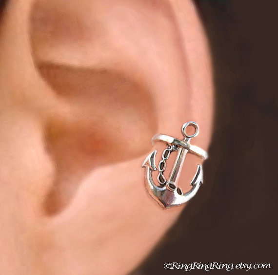 925 Anchor Left - Sterling Sliver ear cuff earring jewelry - non pierced earcuff clip 011013