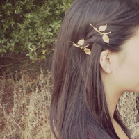 Golden Autumn Leaves - Gold Leaf Branch Bobby Pins - Cute Adorable Boho Bohemian Rustic Elegant Romantic Whimsical - Dreamy - Woodland
