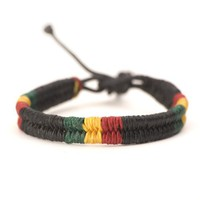 Rasta plaided hippie bracelet leather cotton braided bob marley wristband by 81stgeneration