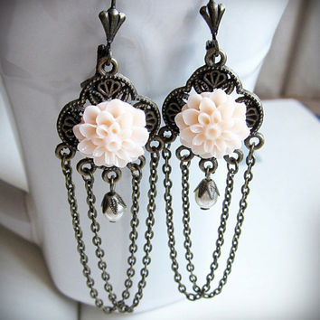 Chandelier Earrings Pink Mum Flowers Antiqued by BeatificBijoux