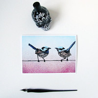 Fairywren Zentangle Art Greeting Card