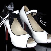 Christian Louboutin White Platforms Pumps - $185.00