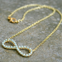 Mint Infinity Necklace Wire Wrapped Gold Brass and Chain MADE TO ORDER