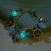 Mermaids Magic Charm Bracelet - Featuring Mini Mermaid's Magic and Ocean Inspired Charms and Gemstones - Amazing Glow in the Dark Effects