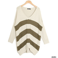 Loose Stripe Matching Color Personality Pierced V Neck Sweater