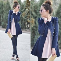 Free Shipping Gossip Girl Double Button Blue Coat