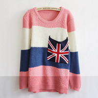 Lovely Beige Pink Striped Flag Large Pocket Sweater from Showmall