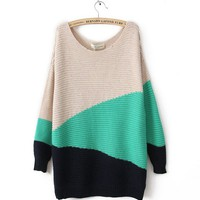 Green Irregular Geometry Long Sleeve Sweater