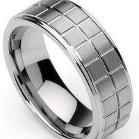 Men's Tungsten Ring/ Wedding Band, Boxed Design, Sizes 7 - 12 by Men's Collections (rg1)