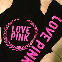 VICTORIA&#x27;S SECRET LOVE PINK Black Pink Sequin BLING Zip Sweatshirt Hoodie M set