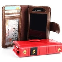 Brown Smart Book Wallet Style Vintage Leather Case with Credit Card / ID Slots for iPhone 4 / 4s (A