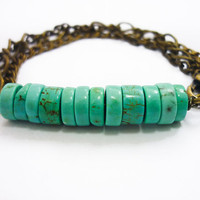 Turquoise Stone Beaded Bar & Mixed Chains Bracelet by AstralEYE