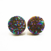 Rainbow Flame Druzy Stud Earrings n35 by AstralEYE on Etsy