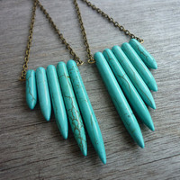 Turquoise Howlite Feather Wing Spikes Long Earrings by AstralEYE
