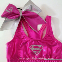 Girl of Steel Super Hero Metallic Sports Bra and Bow Set Cheerleading