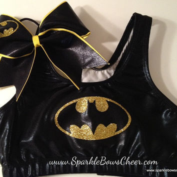 Batty Super Hero Metallic Sports Bra and Bow Set Cheerleading