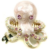 "Amazon.com: Gold Plated Light Pink 2"" Octopus Fashion Statement Ring Accented with Crystal Accents - Adjustable Stretch Band: Jewelry"