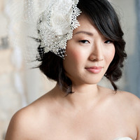 Bridal mini hat - Hazel | birdcage veils, bridal accessories by tessa kim