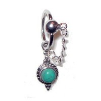 Amazon.com: Genuine Turquoise Belly Button Ring Captive Style: Jewelry