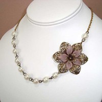 Bronze Pink Flower and Pearl Beads Necklace by AntiqueInspired