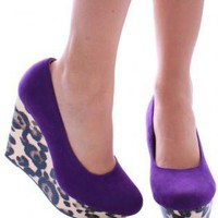Purple Suede Heels with Leopard | UsTrendy