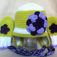 Zesty For Life  Green white and purple hat by HookinItbyBellaBeanz