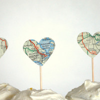 12 Vintage Map Heart Cupcake Toppers