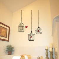 vinyl wall decal  birdcage one gets away