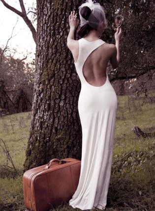 White Formal Dress - Lauren Backless Dress - Ivory | UsTrendy