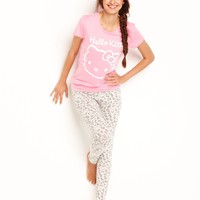 Hello Kitty Pajamas, Animal Instinct Top and Leggings Set - Womens Juniors Pajamas & Robes - Macy's
