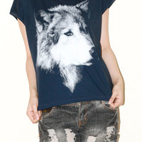 Wolf Face Women Top Navy Blue Clothing Animal Tee Sleeveless Women Art Punk Rock Half T-Shirt Size XL