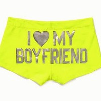 VICTORIA SECRET Pink.Ruched Shortie Panty,&quot;I LOVE MY BOYFRIEND&quot;yellow