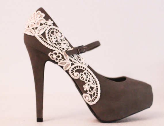 Gray Platform Pumps with Venise Lace Size 8 by LaPlumeEthere