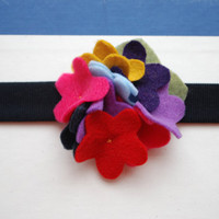 Rainbow Hydrangea Felt Hair Clip by PosiesandPetals on Etsy