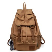 BROWN Canvas Rucksack-Styled Backpack School Bag and Camping Bag with Genuine Leather Straps