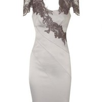 Off-white Cocktail Dress - Bqueen Floral Applique Dress Apricot | UsTrendy