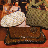 a LOT of 3 vintage formal purses and a bonus scarf. gold mesh Walborg, gold beaded clutch, small beaded ivory bag. Valentines day gift