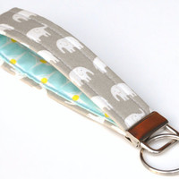 Key Fob Wristlet Keychain White Elephants by BrooklynLoveDesigns