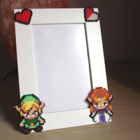 Valentine&#x27;s Day Legend of Zelda Photo Frame. White Pîcture Frame. Choose between two different Zelda Sprites