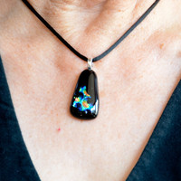dichroic fused glass pendant necklace multicolor by eyeseesage