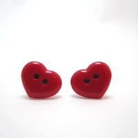 Cute heart button post earrings by LazyOwlBoutique on Etsy