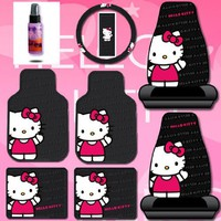 New Design 8 Pieces Hello Kitty Car Seat Cover with 4 Rubber Mats, Steering Wheel Cover and Purple