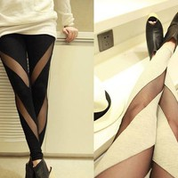 Cotton Mesh Stretch Render Leggings  from 1Point99.com
