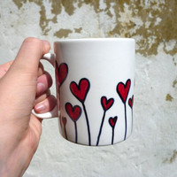 Field of hearts mug - Hand drawn mugs