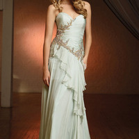 Terani Evening- Seafoam Sweetheart Beaded Ripple Gown - Unique Vintage - Cocktail, Evening & Pinup Dresses